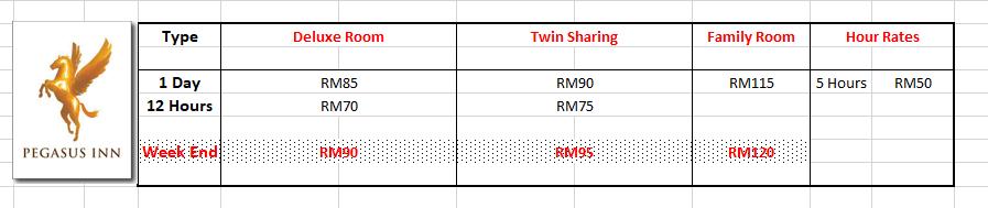 Standard Room Rates 2018